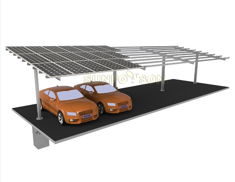 T type solar carport mounting structure support system